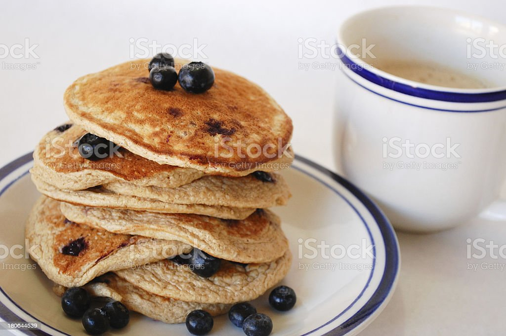 Blueberry Oat Pancakes and Coffee Close up royalty-free stock photo