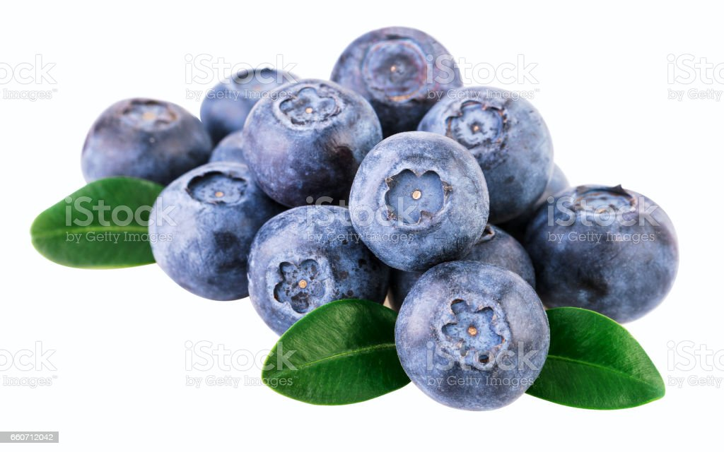 Blueberry on white with clipping path stock photo