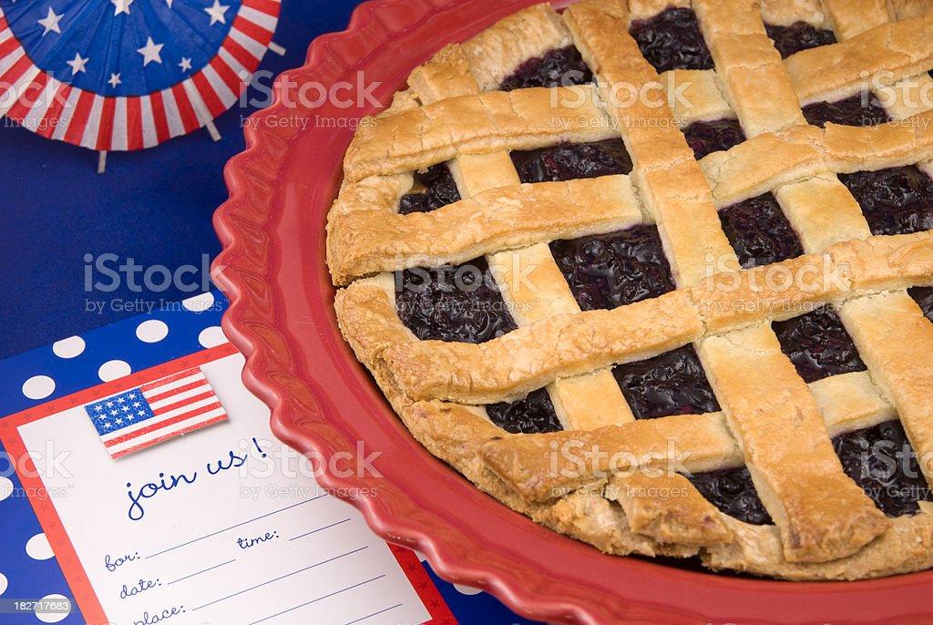 Blueberry Pie & American July Fourth, Labor & Memorial Day Picnic Invitation stock photo