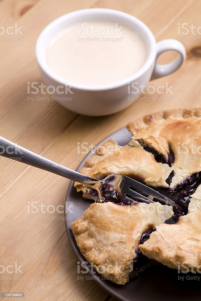 Blueberry pie and cappuccino royalty-free stock photo