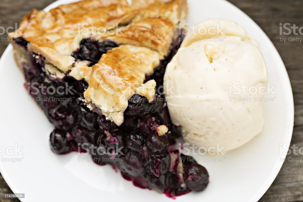 Blueberry Pie And Vanilla Ice Cream stock photo