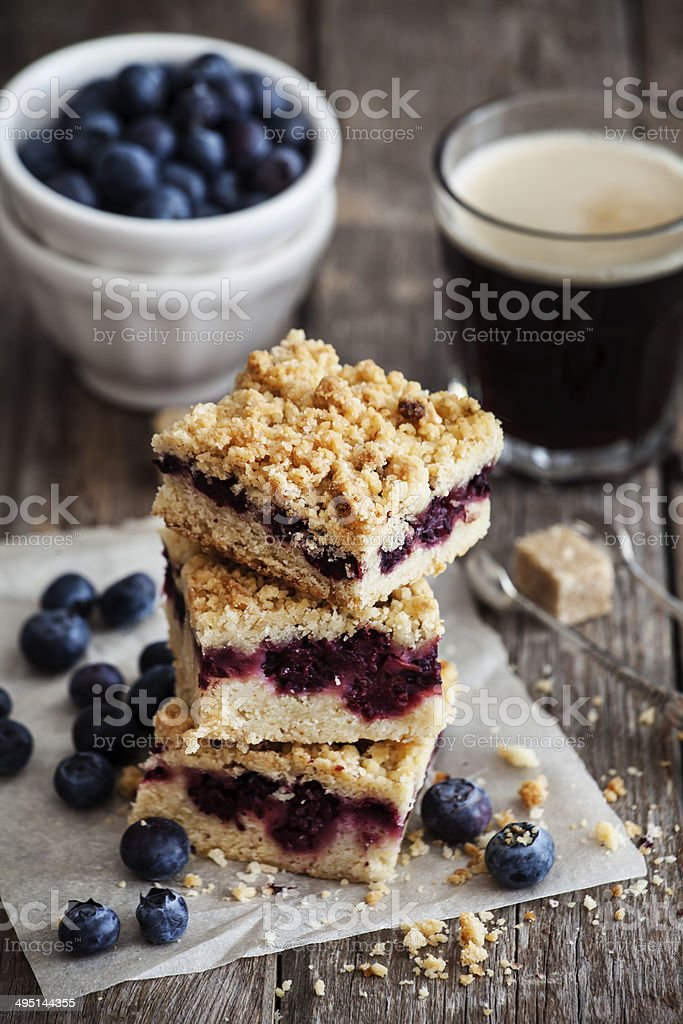 Blueberry pie bars stock photo