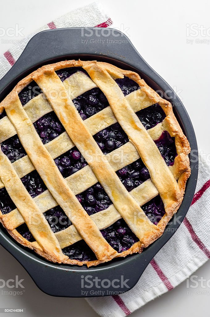 Blueberry Pie From Above stock photo