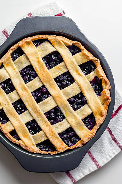 blueberry pie from above - blueberry pie stock pictures, royalty-free photos & images