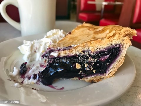 Blueberry pie on a diner table