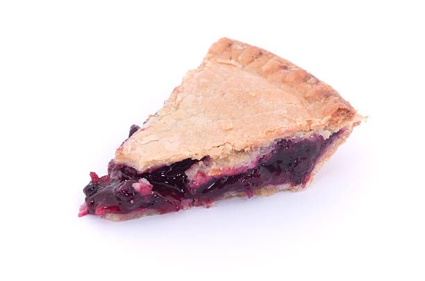 blueberry pie slice isolated on white - blueberry pie stock photos and pictures