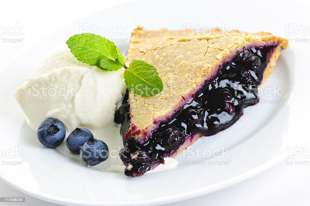 Blueberry pie slice royalty-free stock photo