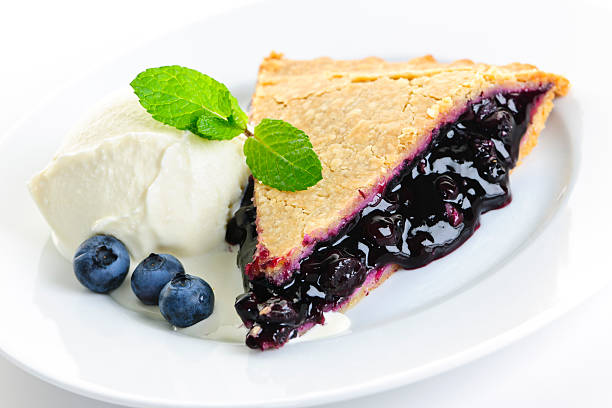 blueberry pie slice - blueberry pie stock pictures, royalty-free photos & images