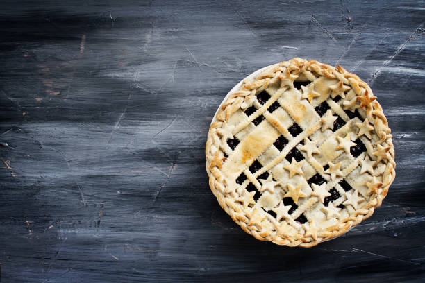 blueberry pie with copy space - blueberry pie stock pictures, royalty-free photos & images