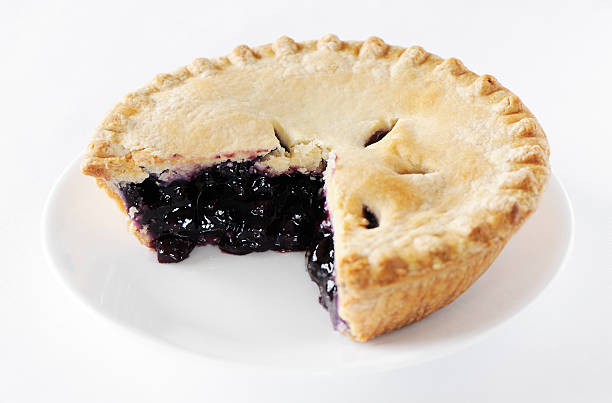 blueberry pie with missing slice - blueberry pie stock pictures, royalty-free photos & images