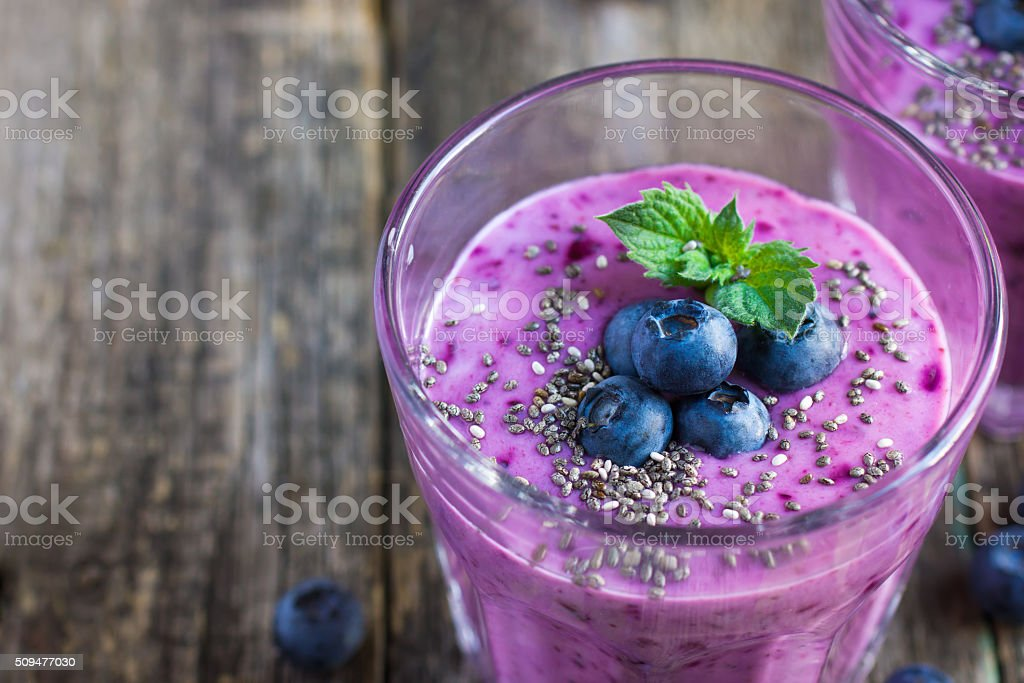 blueberry smoothie with chia seeds stock photo