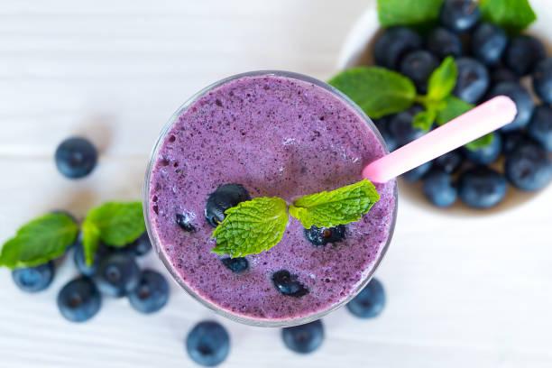 blueberry smoothies and blueberry fruit stock photo