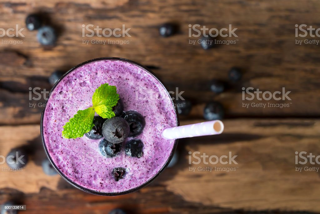 Blueberry smoothies juice stock photo