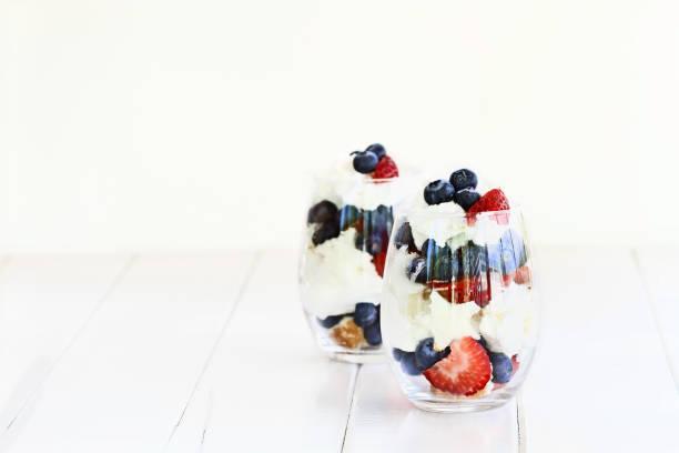 Blueberry Strawberry Trifle stock photo