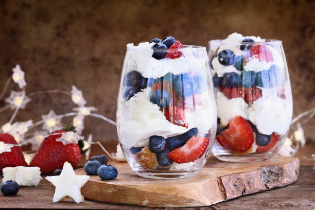 Blueberry Strawberry Trifles for July 4th stock photo