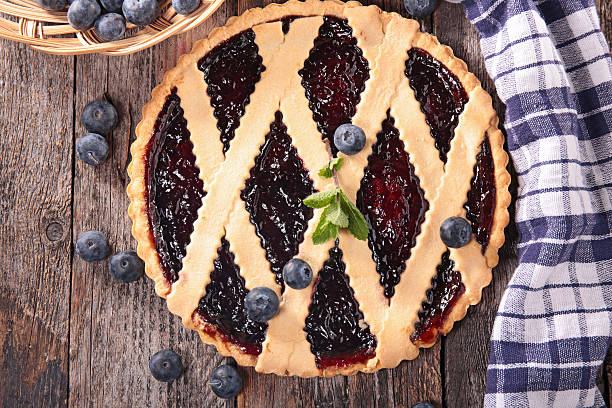 blueberry tart - blueberry pie stock pictures, royalty-free photos & images