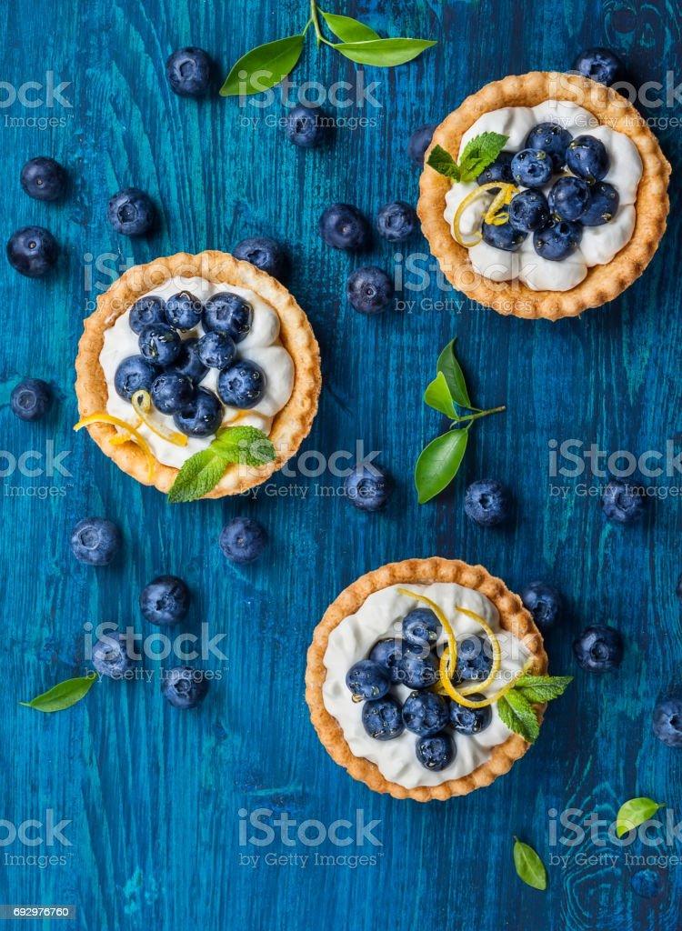 Blueberry tartlets stock photo