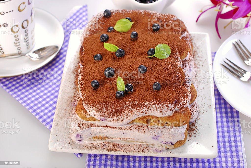 blueberry tiramisu cake royalty-free stock photo