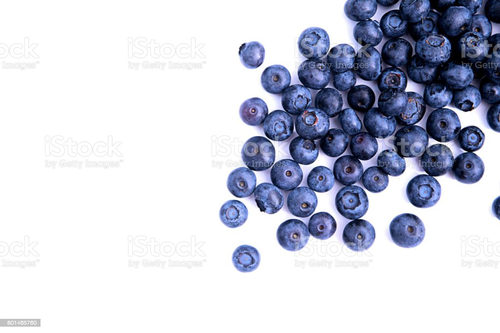Blueberry top view isolated stock photo