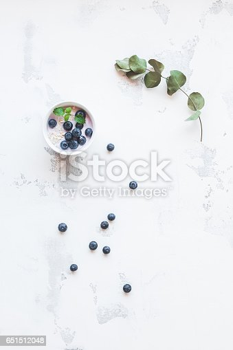 Blueberry yogurt with muesli and eucalyptus branch on white background. Healthy food concept. Flat lay, top view