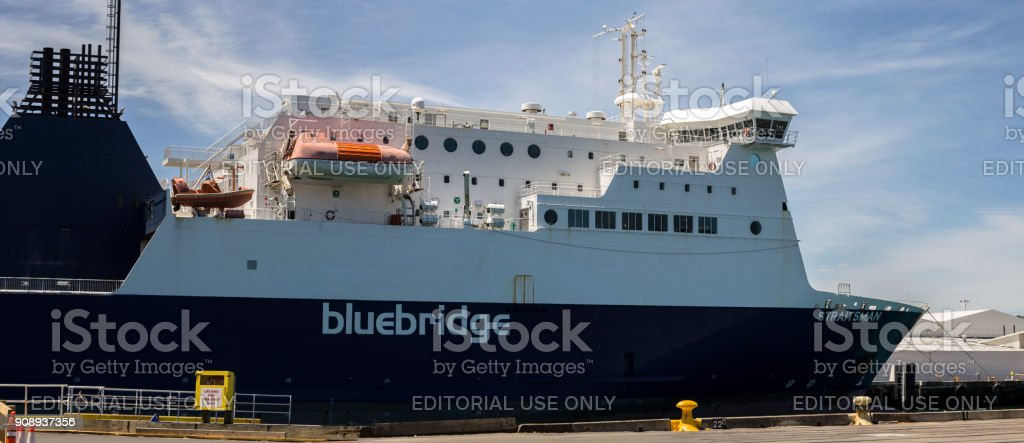 Wellington, New Zealand - Dicember 23, 2017: Bluebridge ferry anchored in Wellington port, waiting for passengers, vehicles and freight to depart to Picton. stock photo