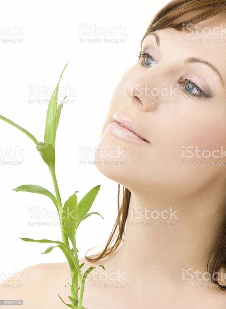 blue-eyed brunette with bamboo royalty-free stock photo