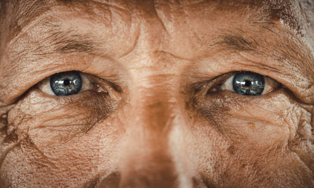 Blue-eyed senior man. stock photo
