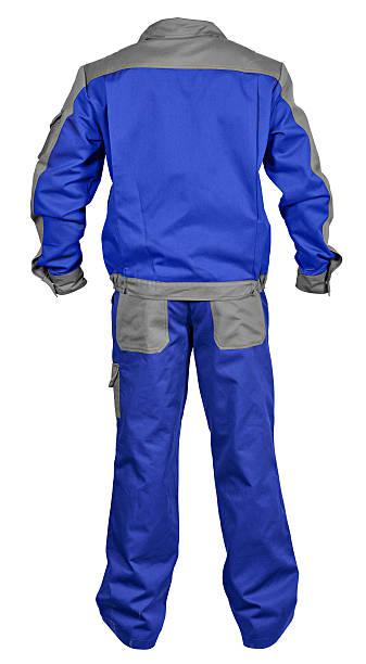 blau-grau overall mit jacke - jumpsuit blau stock-fotos und bilder