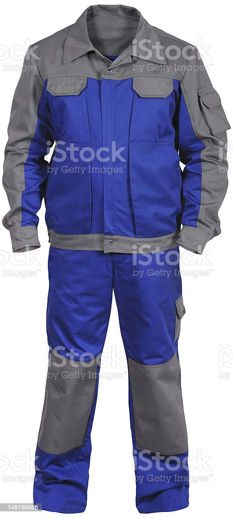 blue-gray male worker's jumpsuit with jacket stock photo