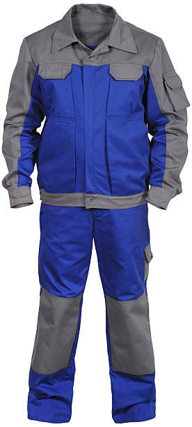 blau-grau männliche arbeiter-overall mit jacke - jumpsuit blau stock-fotos und bilder