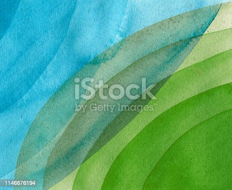 istock Blue,green,yellow circles watercolor abstract background. Circle spots on the cotton paper. Hand drawn illustration 1146676194