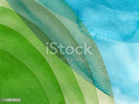 istock Blue,green,yellow circles watercolor abstract background. Circle spots on the cotton paper. Hand drawn illustration 1146676224