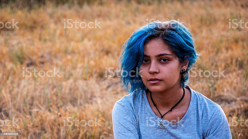 blue-haired girl's portrait stock photo
