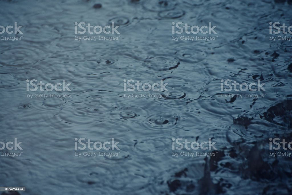 Blueish rain waters isolated unique photo stock photo