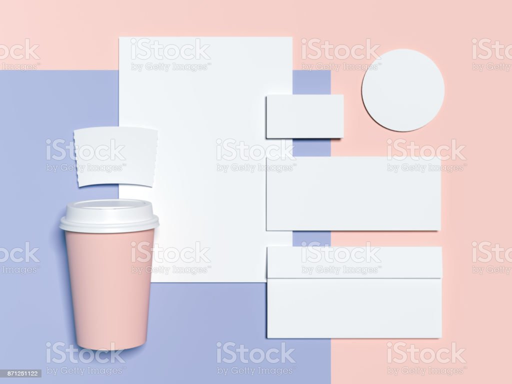 Bluepink branding mockup with blank sheets envelope and business blue pink branding mockup with blank sheets envelope and business cards 3d rendering reheart Gallery