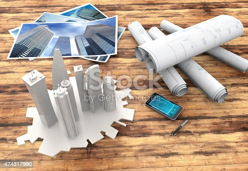 istock blueprint and 3d model of skyscrapers 474317990