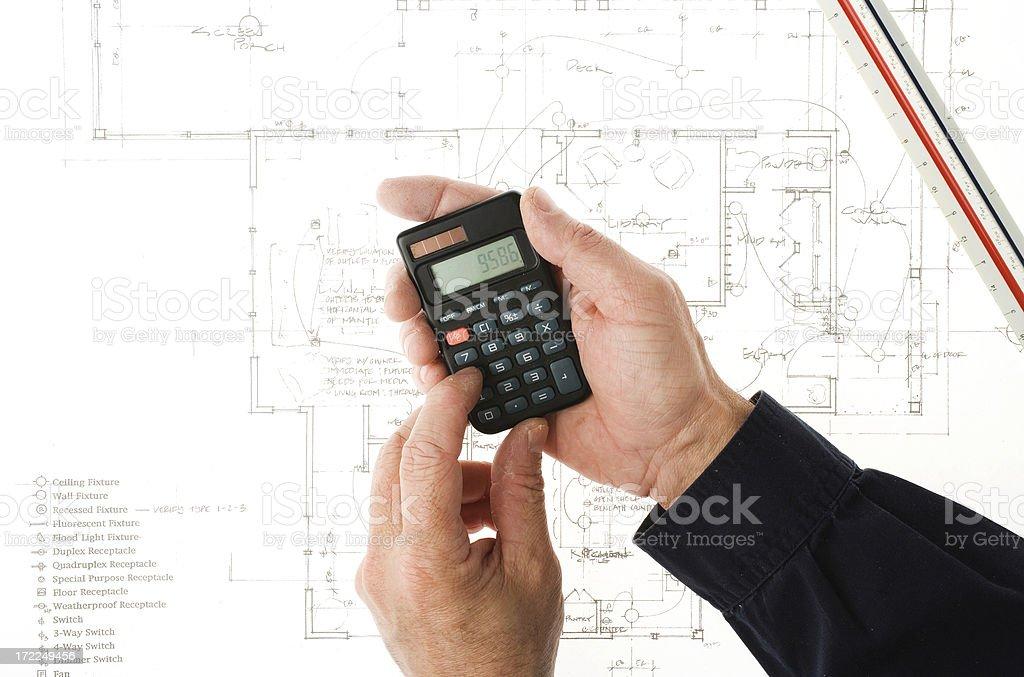 Blueprint and budgeting stock photo