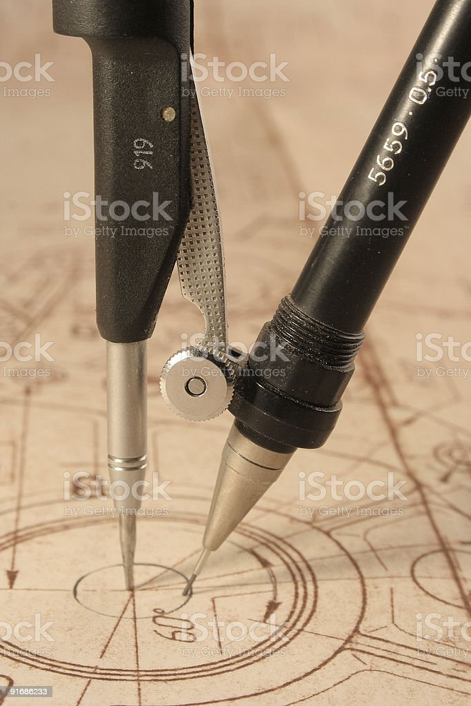 blueprint and compasses royalty-free stock photo