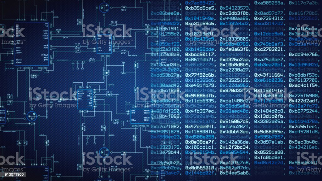 Blueprint and computer data wallpaper stock photo