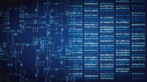 blueprint and computer data wallpaper - diagram stock pictures, royalty-free photos & images