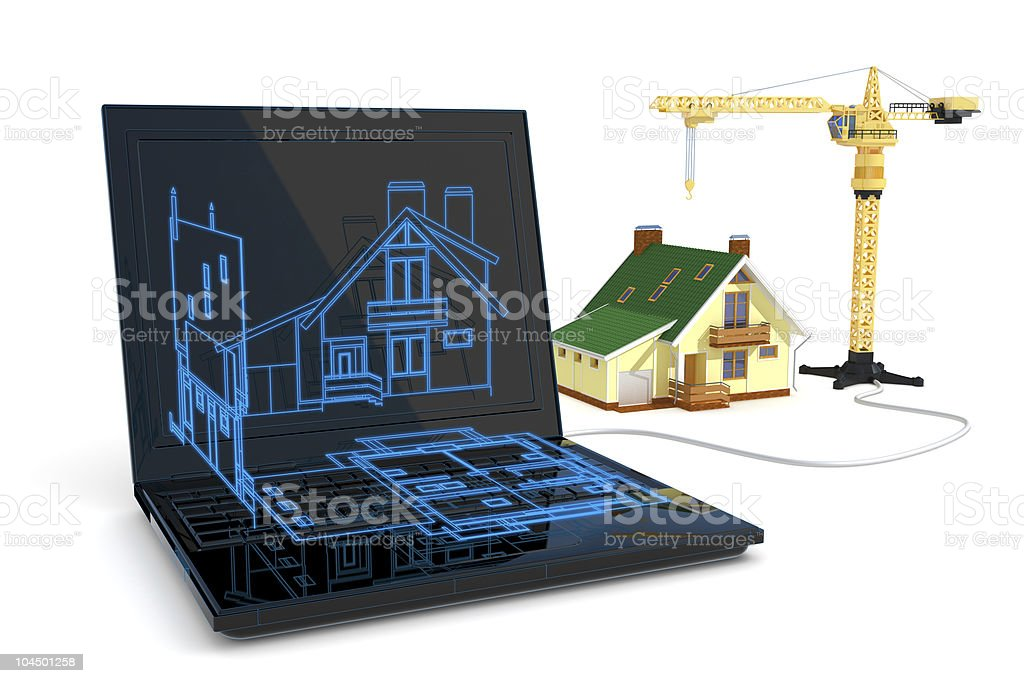 Blueprint and construction royalty-free stock photo