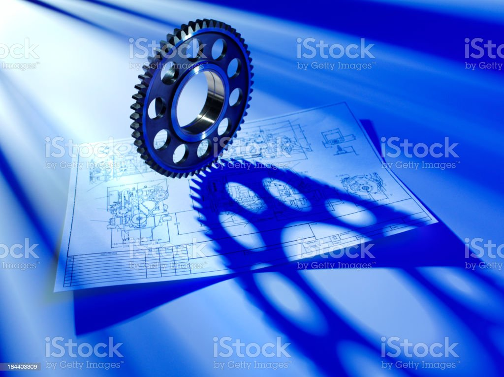 Blueprint and Engineering Cog royalty-free stock photo