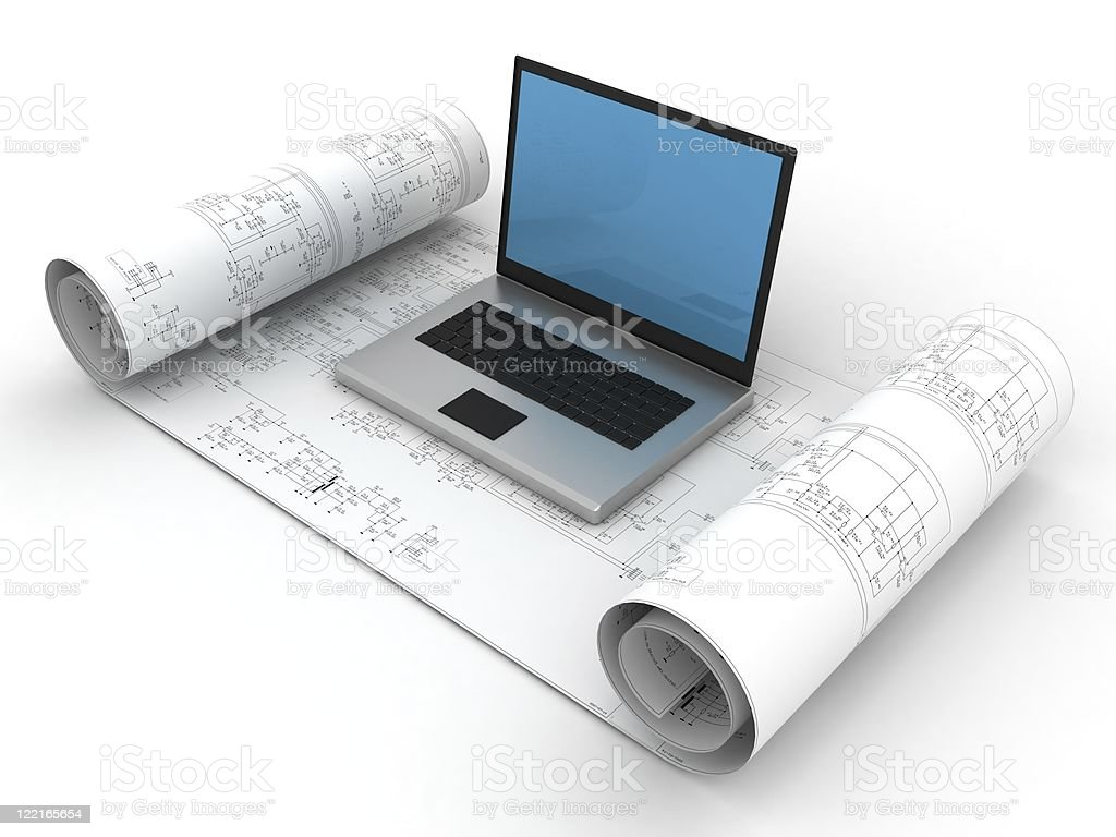 Blueprint and Laptop royalty-free stock photo