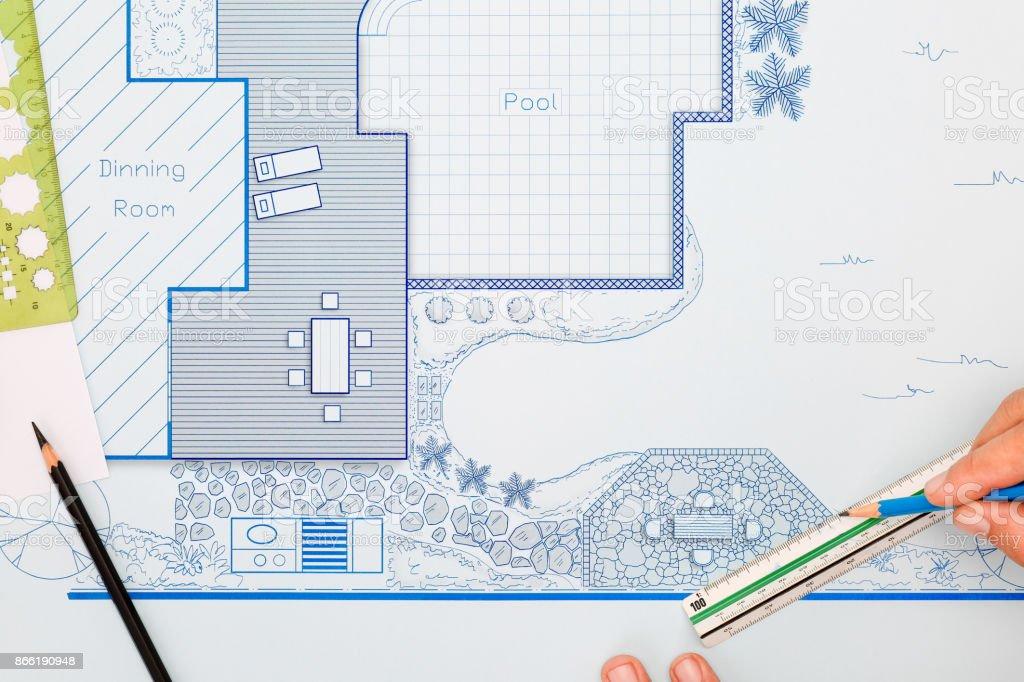 Blaupause Hinterhof Garten Und Pool Gestaltungsplan Für Villa. Lizenzfreies  Stock Foto
