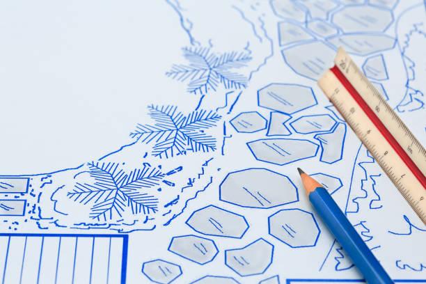 Blueprint backyard garden and pool design plan for villa. stock photo