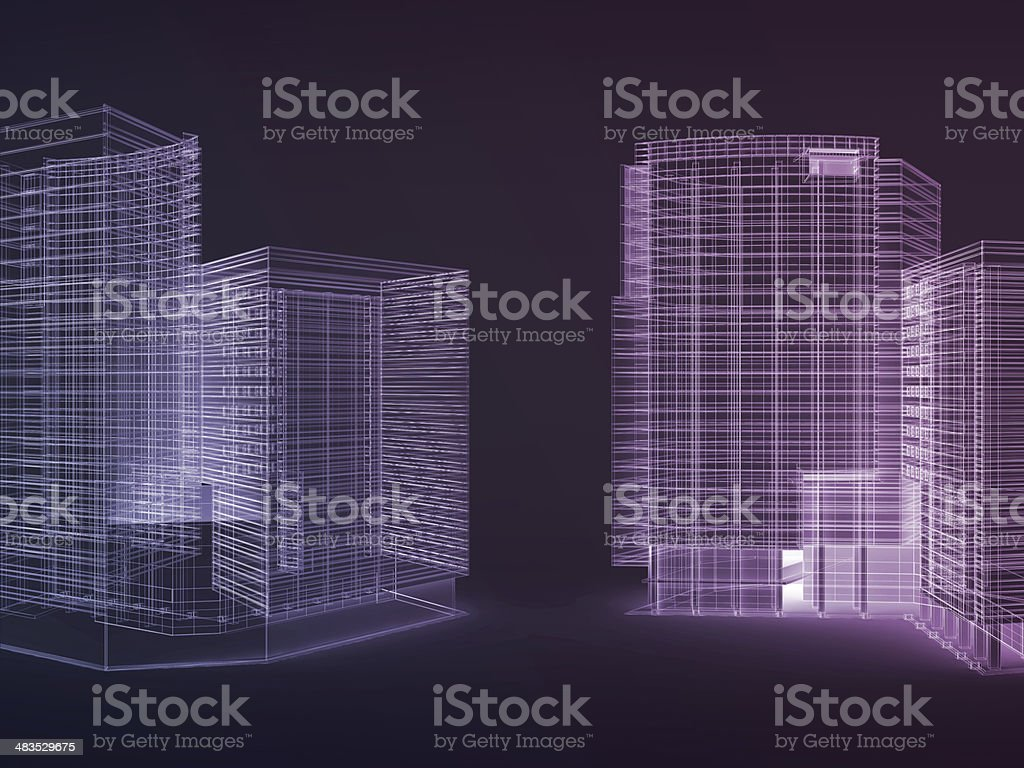 Blueprint City (black background) stock photo