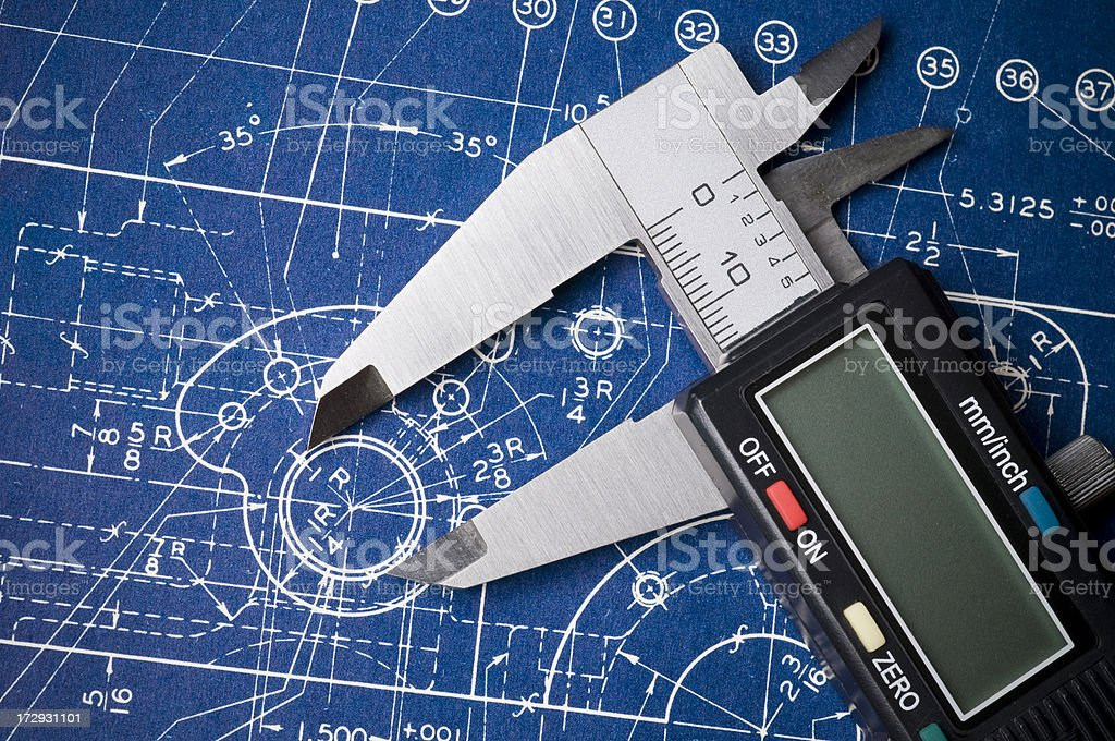 Blueprint detail with caliper royalty-free stock photo