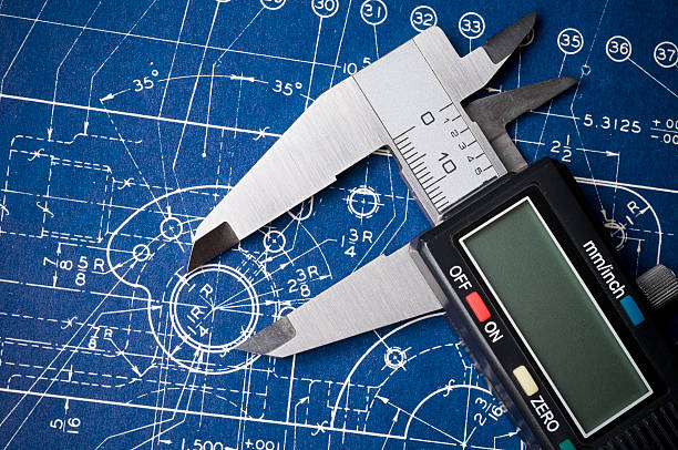 Blueprint detail with caliper stock photo
