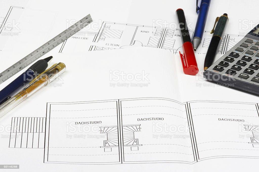 Blueprint details stock photo