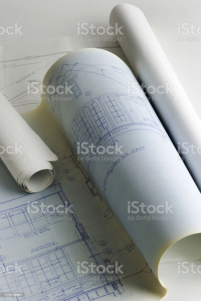 Blueprint for Real Estate Construction Engineering Plan for New Homes royalty-free stock photo